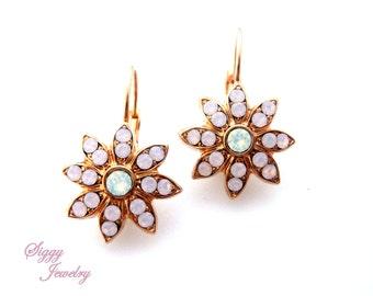 Swarovski Crystal Earrings, Rose Water Opal, Snowflake Flower, Lever Back, Rose Gold or Antique silver, Cluster Earrings, Gift Packaged