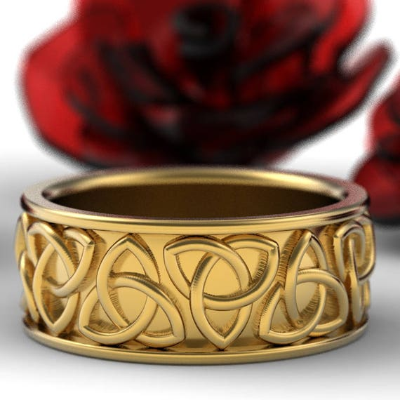 Celtic Gold Wedding Ring With Trinity Knot Design in 10K 14K 18K Gold, Platinum or Palladium, Wide Wedding Band, Made in Your Size 1181