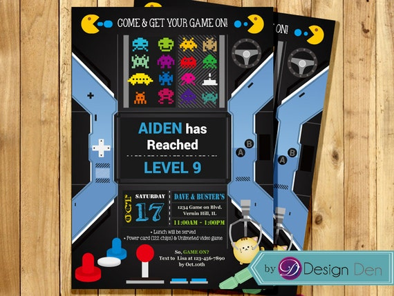 VIDEO Game Birthday Party invitation ARCADE Game Birthday