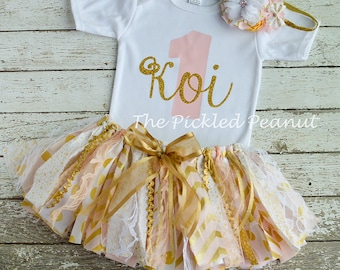 Twinkle Twinkle Little Star Pink Gold Birthday Outfit Pink Gold Birthday Tutu 1st Birthday Outfit Shabby Chic Baby Tutu Baby Skirt Baby Girl