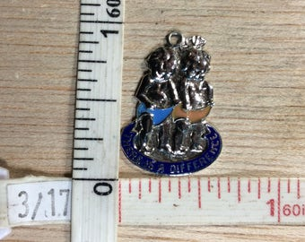 Vintage 925 Sterling 2.7g Boy Girl There Is A Difference Enameled Pendant Used