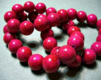 Fossil Beads Dark Fuchsia Round 10mm