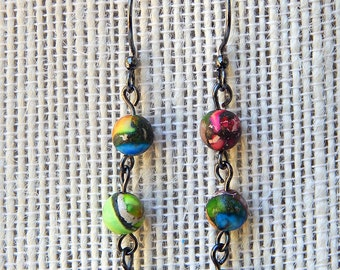 Small Rainbow Jasper Earrings - handmade, bright, colorful, gunmetal, jasper