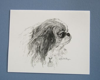 Japanese Chin note cards, set of 6 plus envelopes, direct from artist