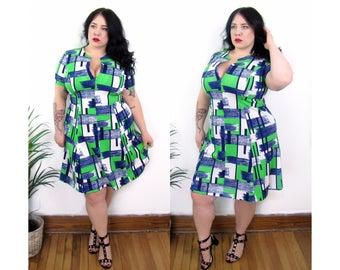 Plus Size Dress l Vintage 1960's Color Block Poly Dress - Size XL