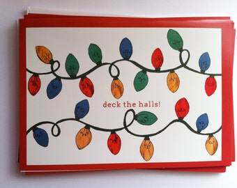 One Christmas Lights String Greeting Card - Collage Illustration - Decorations - Deck the Halls
