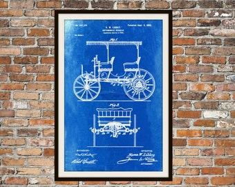 Blueprint Art of Patent Car Automobile Vehicle 1900 Technical Drawings Engineering Drawings Patent Blue Print Art Item 0027