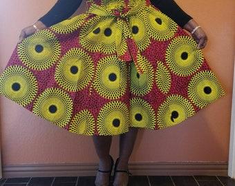Authentic African print three quarter length skirt