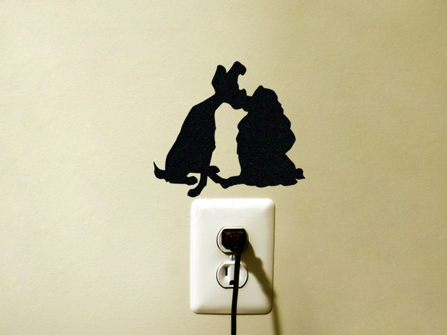 Lady and the Tramp Fabric Decal Disney Laptop Sticker Dogs