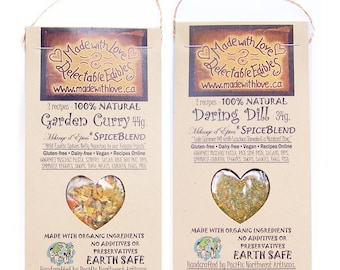 Mix & Match - Any Two Spice Blend Samplers - Eco Gift Set - Earth Market - Food Gift - Herbs and Spices - DIY - Valentine Heart