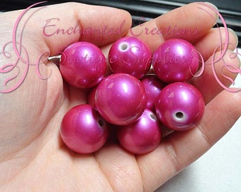 20mm Shimmery Fuchsia Acrylic Beads Qty 10, Stardust Coated, Bubblegum Beads, Gumball Beads, Chunky Bead, Sparkly Beads, Large Glitter Beads