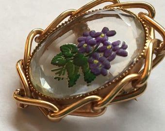 Sale Vintage Reverse Intaglio Brooch Glass Violets
