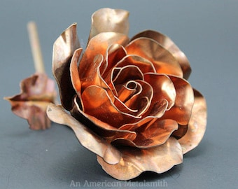Copper Rose, Metal Rose, Mothers Day Gift, Anniversary Gifts, Forever Rose, Copper Anniversary, Metal Sculpture, Enchanted Rose, Gift