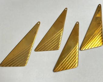 Vintage Raw Brass Metal Patterned Triangle Earring Stampings pkg4 m134
