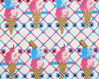 Vintage All-Occasion Birthday Gift Wrap - Wrapping Paper - ICE CREAM CONES - 1980s