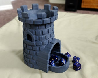 Castle Rook Tower Dice Roller with Tray for DnD Dungeons and Dragons, RPG Role Playing Game, Display, Dice Holder, 3D Printed and Paintable