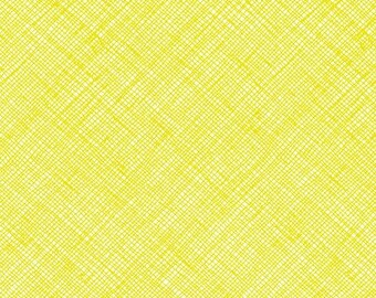 Architextures Crosshatch in Acid Lime, Carolyn Friedlander, Robert Kaufman Fabrics, 100% Cotton Fabric, AFR-13503-386 ACID LIME