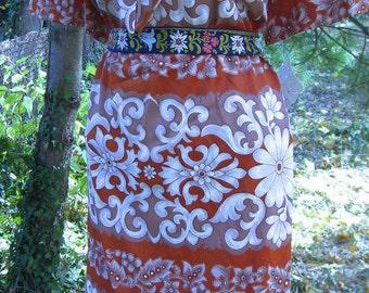 Plus Size 3x Fleur de Lis Baroque print dress 60s Never worn Store Tag Dress, Like New with tag Lnwt dress Easter dress, XXXL size 24  26