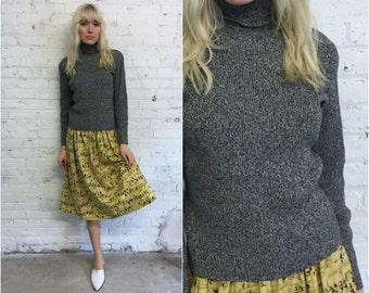 vintage ribbed turtleneck / salt and pepper minimalist sweater / black and white minimal style