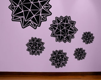star origami wall decal- geometric origami star wall decal set of six decals
