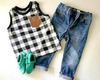 Infant or Toddler black check Tank-Racerback style with faux leather pocket and black ribbed trim sizes 0-4T *this listing is for tank only