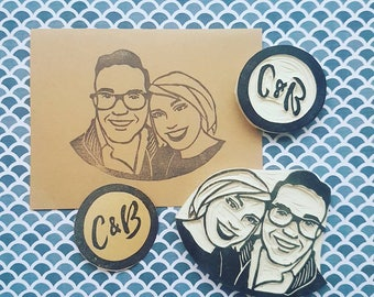 Couples Stamp and Monogram Stamp - engagement, wedding, personalized, custom, initials, rubber stamp