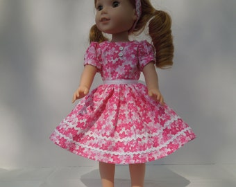 "28-Handmade for 14.5"" doll like Wellie Wishers - Pink and White floral dress, ric rac trim and matching headband,  Made in America"