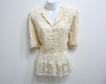 80s Lace Blouse Cream White Pearl Buttons Pin up Blouse Women Size M