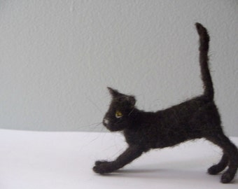 Needle Felted Black Cat with ball