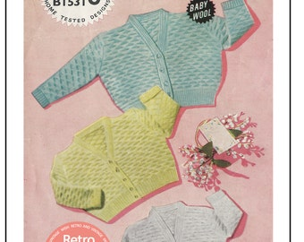 Baby Cardigan in 3 Sizes Knitting Pattern  - PDF Knitting Pattern - Instant Download