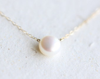 White Pearl Necklace - pearl on 14k gold fill chain, simple everyday jewelry by petitor etsy