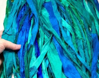 10 yd Recycled Sari Silk Ribbon Mermaid Blues and Greens Tassel Jewelry Dreamcatcher Supply Sari Wrap Bracelet Fair Trade Fiber Art Supply