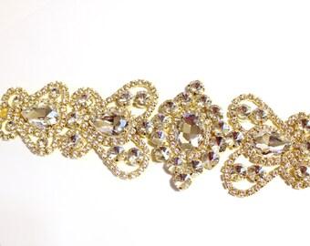 Gold bridalal sah, wedding bridal belt, Gold rhinestone trim, crystal trim, Bridal trim, Bridal sash trim, crystal sash, rhinestone applique