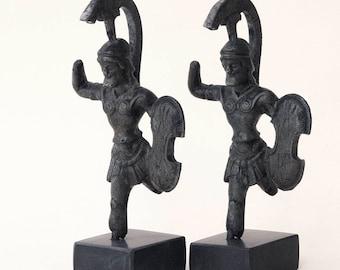 Ancient Greek Armed Soldier, Bronze Spartan Warrior with Helmet and Shield, Bronze Metal Sculpture, Museum Replica, Ancient Greece Statue