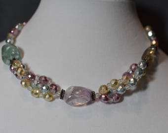 Twisted rope Czech pastel crystals with fluorite nuggets