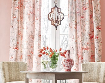 Attractive Pink CHINOISERIE Curtains Pink Jacobean Curtains THIBAUT Giselle Curtains  Coral Curtain Panels Jacobean Drapes Pink Oriental