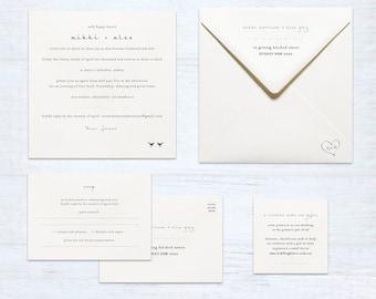 Printed Wedding Invitation Set – Love Birds – Australia