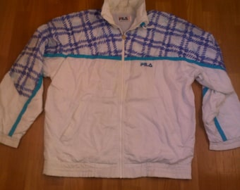 FILA jacket, vintage track jacket of 90s hip-hop clothing, 1990s hip hop windbreaker, white, OG, gangsta rap, size L Large