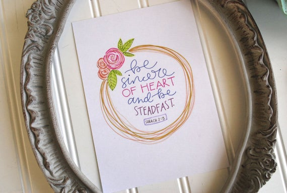 "5x7"" Handlettered and Illustrated Scripture Print Catholic Christian Inspiration Floral Ink & Watercolor"