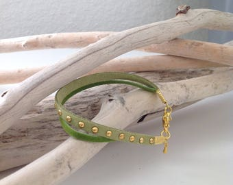 Bracelet Duo in green suede