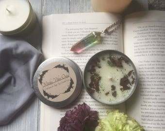 Witchy Vibes Candle - Oakmoss Sage Scented - 4 oz Candle Tin - Xxlarge Tealight Tin - Witch Candle - Wiccan Candle - Scented Candle - Candle