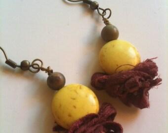 Telluride Hand Dyed Sari Ribbon Dangle Earrings