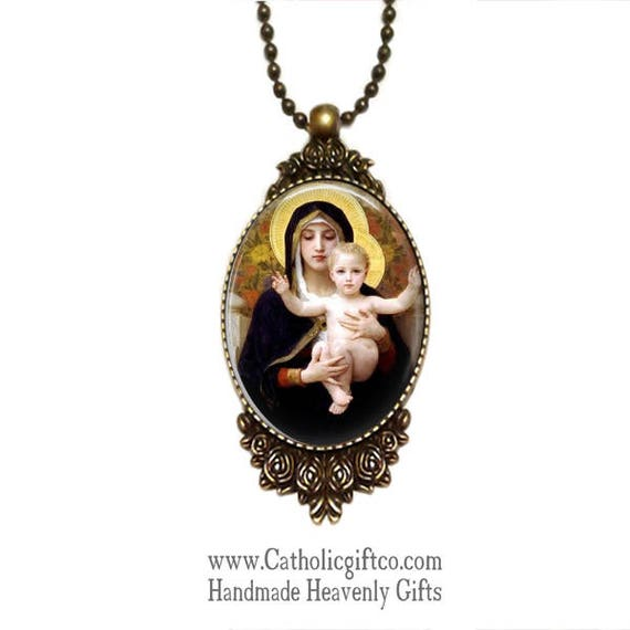 Virgin Mary and Jesus Necklace with 18 or 24  inch chain - Catholic Necklace - NEW Beautiful bronze setting framed in roses - Innocence