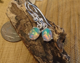 Ethiopian Fire Opal Dangle or Stud Earrings, Solid Sterling Silver, 2.73 Cts 8 x 6.30 Color Choice Natural Ethiopian Fire Opal