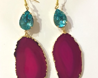 Hot Pink Druzy Agate Slice Raw Stone Earrings Geode and Aqua/Turquoise Crystal
