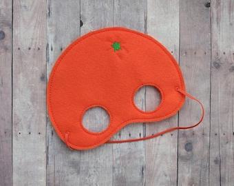 Orange Felt Mask, Elastic Back, Orange Acrylic Felt with Embroidery, Halloween Costume, Photo Booth Prop, Fruit Mask, Made in USA