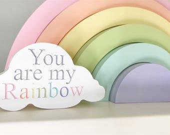 Rainbow cloud, you are my rainbow, rainbow quote, rainbow baby, cloud decoration, wooden cloud, rainbow baby decoration, always my rainbow