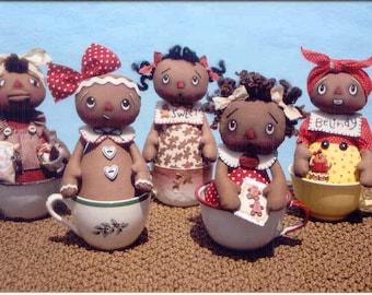Primitive Cloth Doll PATTERN - Darling Gingerbread Tea Cup Dolls - HHF294