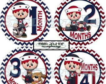 Nautical stickers Sailor stickers Nautical month stickers Nautical Baby Shower Gift Raggedy month stickers Baby Boy Stickers decals
