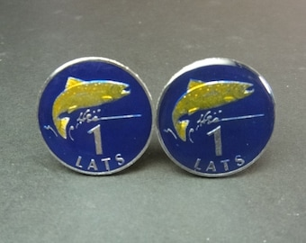 Latvia coin cufflinks 1 Lats.  22mm